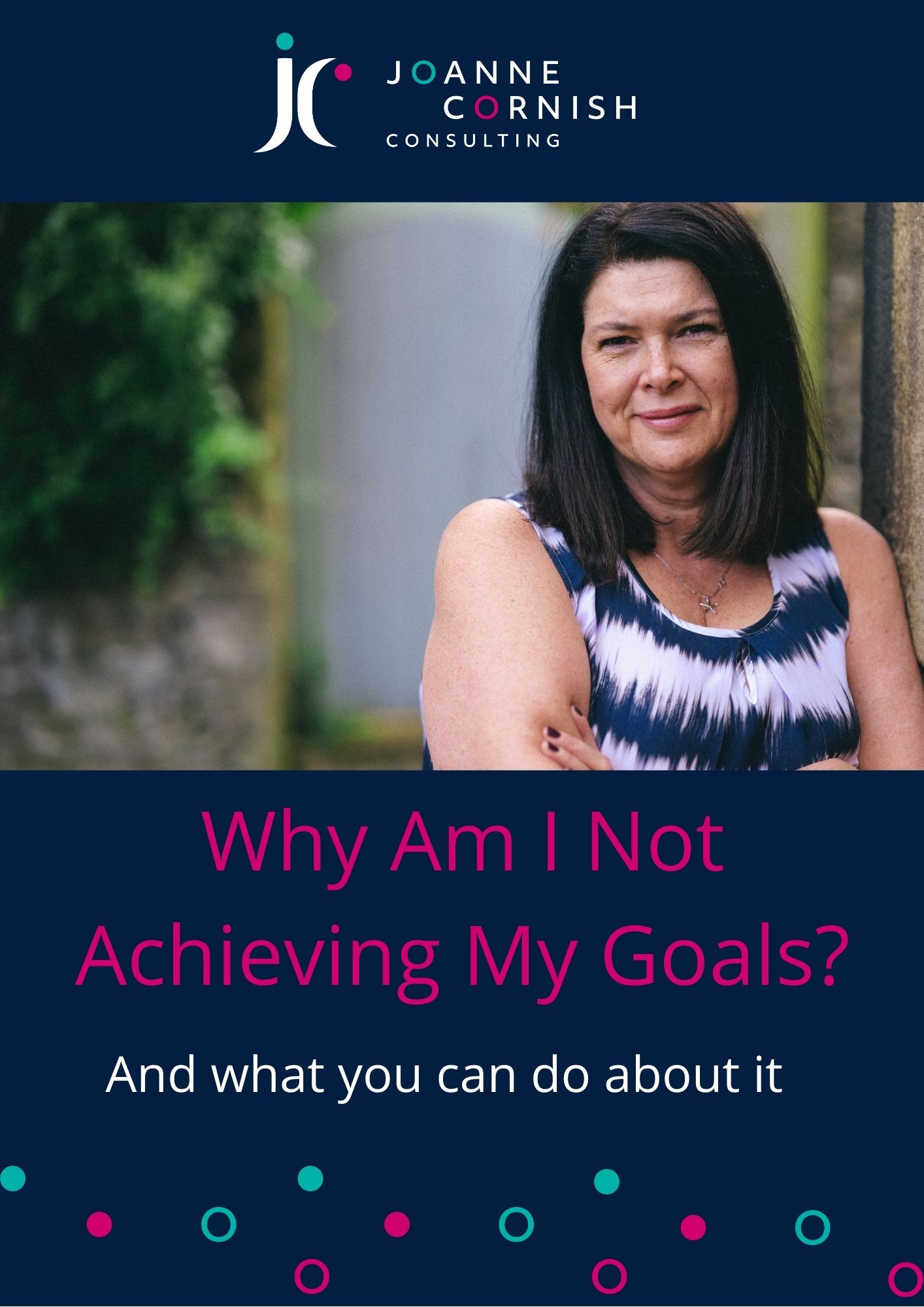 Title graphic for blog post by Joanne Cornish entitled Why Am I Not Achieving My Goals, with a photo of Joanne smiling at the camera.